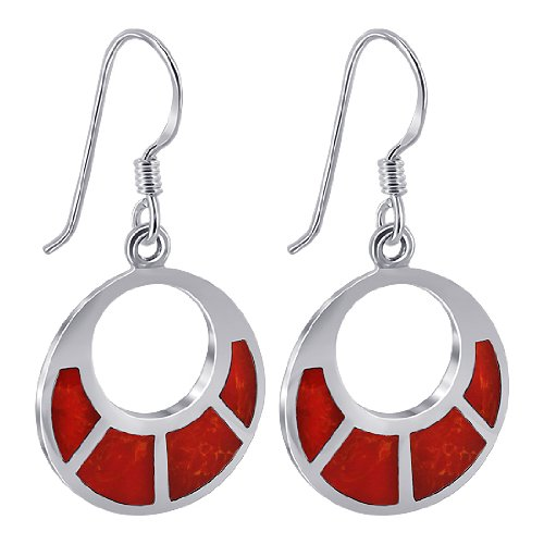 EMES055 Sterling Silver Simulated Coral Inlays 16mm Round Circle French Ear Wire Dangle Earrings