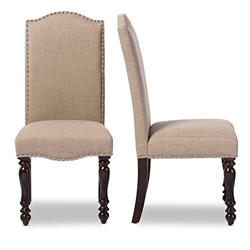 Baxton Studio Zachary Chic French Vintage Oak Brown Beige Linen Fabric Upholstered Dining Chair 0