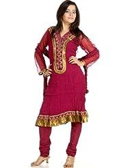 Exotic India Purple Choodidaar Designer Suit With Crewel Embroidery - Purple