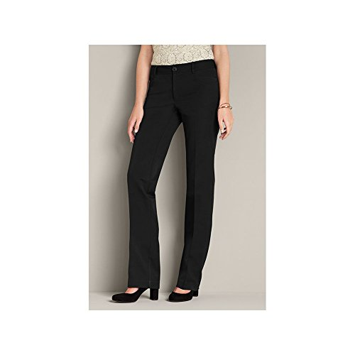 Eddie Bauer Eddie Bauer Womens Curvy StayShape® Stretch Twill Pants - Straight Leg, Black 14