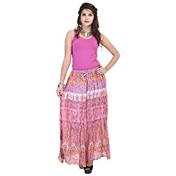 Rangkrit Beautiful Cotton Printed A-Line Pink Long Skirt