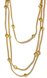 Rush Collection Genuine Tan Leather 3 Strand Necklace With Topaz Colored Faceted Crystal Stations
