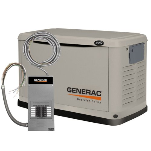 Generac 6237 8,000 Watt Air-Cooled Steel Enclosure Liquid Propane/Natural Gas Powered Standby Generator With 10 Circuit Transfer Switch (Carb Compliant)