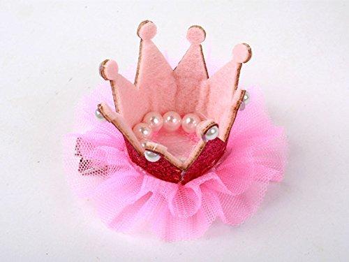 子供 クイーン冠型 真珠 ヘアピン ヘアピン コスプレ 文化祭 桃色