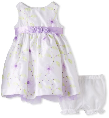Young Hearts Baby-Girls Infant 2 Piece Flowers Printed Sleeveless Dress Set, White, 12 Months