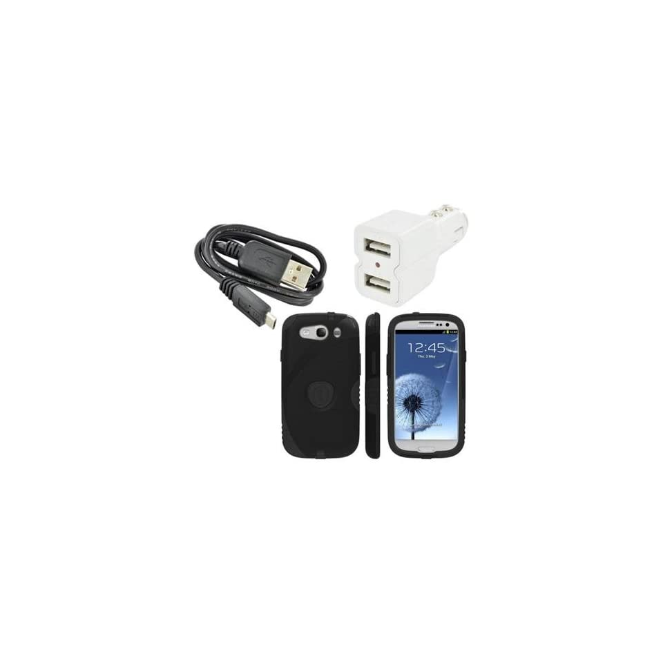 Limited Edition Trident Samsung Galaxy S3 Bundle Combo W/ Black Aegis Hard Plastic Snap On Shell Case Cover Over Silicone, Lcd Screen Protector Cover Kit Film Guard, Dual USB Car Charger Adapter & Micro USB Data Cable