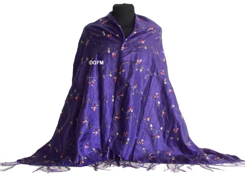 Beautiful Thai Silk-Mix (Electric Purple) Embroidered Summer Scarf Wrap Stole Shawl Sarong or Pashmina - (code: THSK)