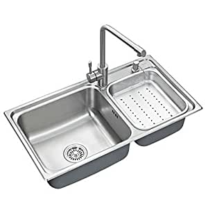 L32 inch double bowl 304 stainless steel kitchen sink set for Kitchen set vessels
