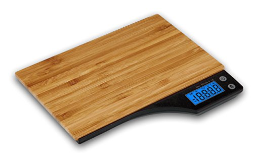 Kabalo Bois Bamboo numérique Balance de cuisine, pour les ménages, la cuisson, la pesée. 5 kg capacité 5000g / 1g, Piles comprises! Conception mince, avec Digital écran LCD électronique avec rétroéclairage bleu