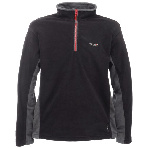 Regatta Mens Sheldon Anti Pill Fleece Jacket With Half Zip - Black / Grey XXXL