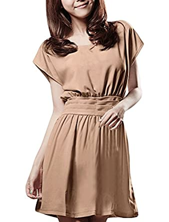 Allegra K Women Scoop Neck Short Dolman Sleeve Sash-waist Casual Dress