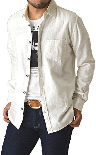(リミテッドセレクト) LIMITED SELECT ネルシャツ 無地 長袖シャツ メンズ フランネルシャツ ワイドスプレッド 大きいサイズ M L LL