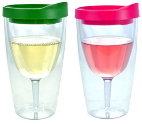 Southern Homewares Wine 2Go! Insulated Vino Double Wall Acrylic Wine Tumbler With Verde And Pink Drink Through Lid, 16-Ounce