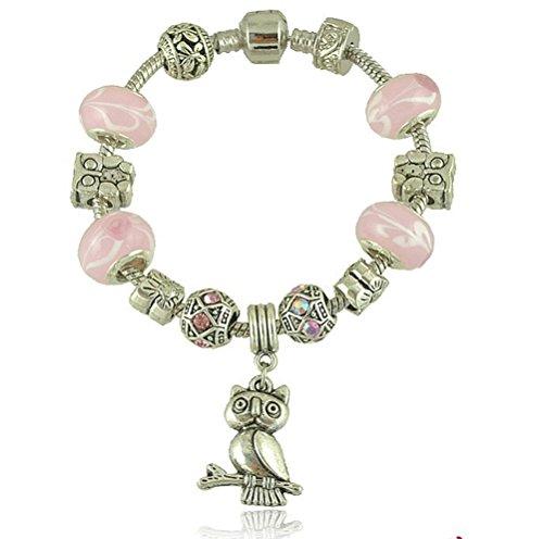SunIfSnow Retro perline di vetro rosa gufo ciondolo braccialetto