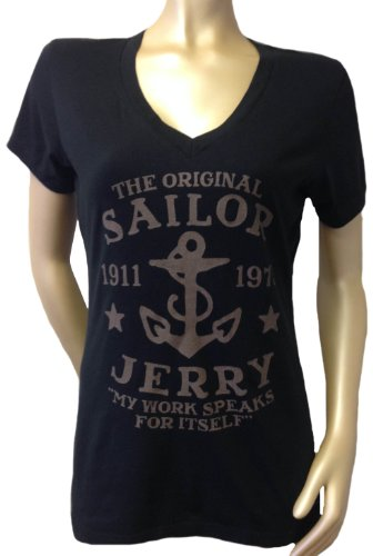 Sailor Jerry MY WORK SPEAKS FOR ITSELF Womens V Neck Shirt (Large, Black) (Sailor Jerrys Tank Top compare prices)