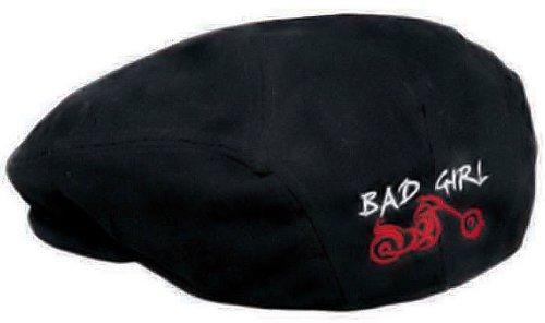Classic Ascot Black Denim Bad Girl Lady Biker Motorcycle Cap