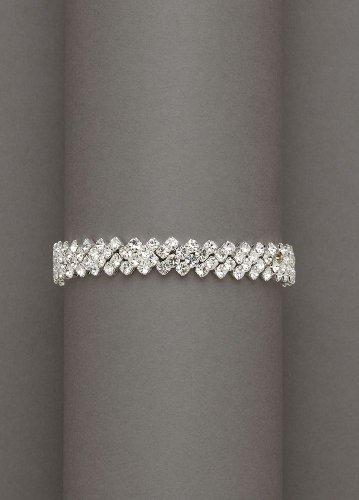 David's Bridal Crystal Bracelet with Zig-Zag Edge Style SL-0071, Silver