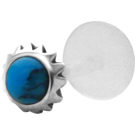Blue Cabochon Tribal Sun Sterling Silver & Bioplast Tragus Earring or Labret Lip Stud