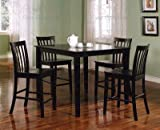 Coaster 5-Piece Dining Set with 4 Barstools, Black
