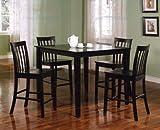 Coaster 5-Piece Dining Set with 4 Barstools, Black