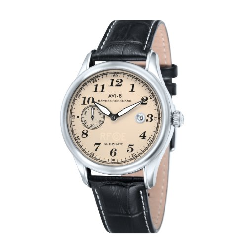 AVi-8 Hawker Hurricane Men's Automatic Watch with Beige Dial Analogue Display and Black Leather Strap AV-4017-02