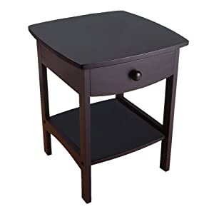 Winsome Wood End Table/Night Stand with Drawer and Shelf Black