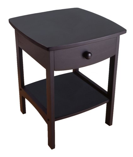 Winsome Wood End Table/Night Stand with Drawer and Shelf, Black