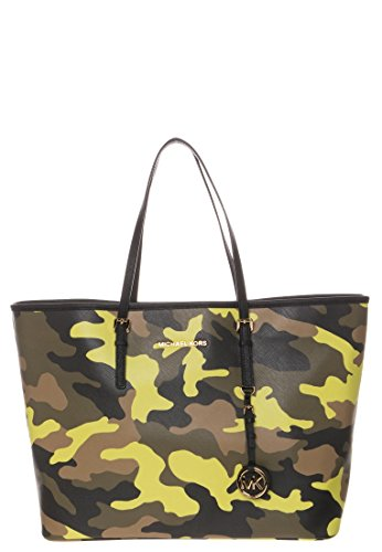 Michael Kors Jet Set Leather Medium Camo Travel Tote (Asid Lemon Camo) front-1072115