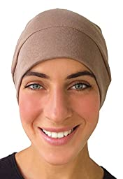 COMFORTABLE KNIT BLEND Chemo SLEEP CAP, Hat or Helmet Liner - Unisex TAN CUPPUCCINO