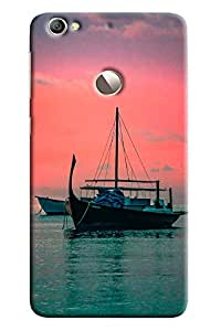 Blue Throat Boat Standing In Water Printed Designer Back Cover For LeTv Le 1s
