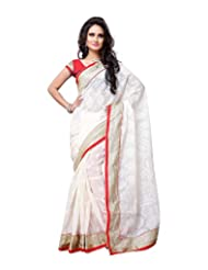 Aaliyah Women's Georgette Saree With Blouse Piece(White) - B00XL9LJLQ