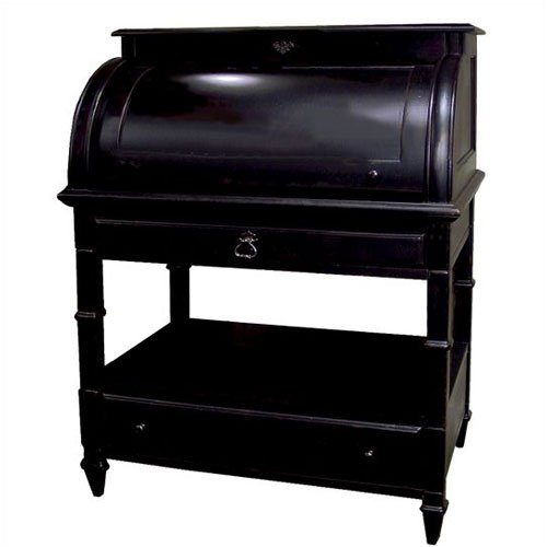 "Riverside Furniture 1290B A Splash of Color 34"" W Roll Top Desk in Antique Black"