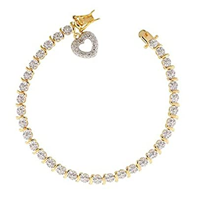18K Gold over Silver Diamond Accent Dangling Heart Bracelet
