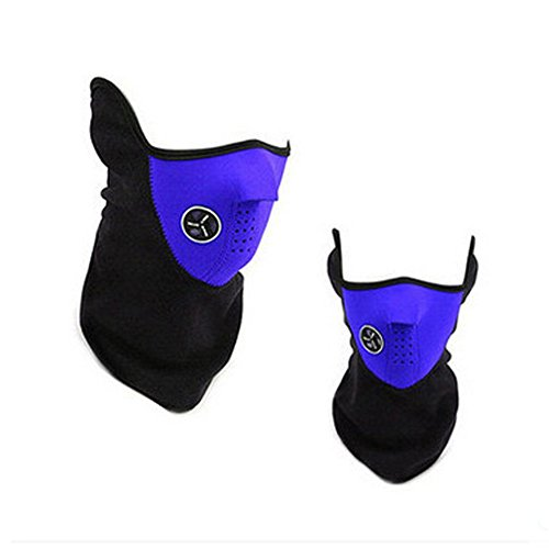 KingBig Windproof Half Face Mask, Unisex Winter Warm Dustproof & Windproof Fleece Neck Warm Ski Face Mask with Air Holes for Outdoor Sport Skiing Cycling Motorcycle Riding Snowmobile Snowboard (Blue)