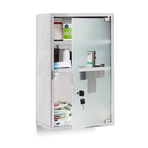 relaxdays-10019093-armoire-a-pharmacie-boite-rangement-medicaments-3-etages-porte-en-verre-fermeture