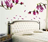 Magnolia flower blossoms sticker wall sticker creative fashion hall wallpaper floral DIY paste home bedroom