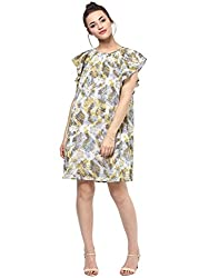 Femella Women's Multi colour butterfly sleeve dress (DS-43064-1013-MCL-XL)