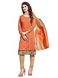 Varanga Orange Printed Chanderi Dress Material With Matching Dupatta KFBND14010