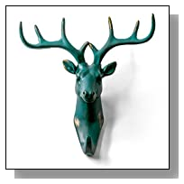 Herngee Deer Head Single Wall Hook / Hanger Animal shaped Coat Hat Hook Heavy Duty, Rustic,Recycled, Decorative Gift , Rustic Bronze Color