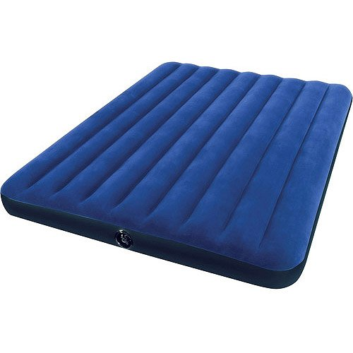 Blue Queen Size Camping Downy Airbed 3-4 Kids Sleepovers Mattress front-978138