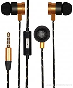 Premium 3.5mm In Ear Bud Handsfree Headset Earphones With Mic Compatible For Motorola Moto E3 Power -Gold