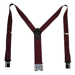 Perry Suspenders Mens Elastic Hook End Jacquard Dress Suspenders (Tall Available, Regular, Burgandy