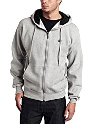 Champion Men's Full-zip Eco Fleece Jacket Hoodie, Oxford Gray, Large