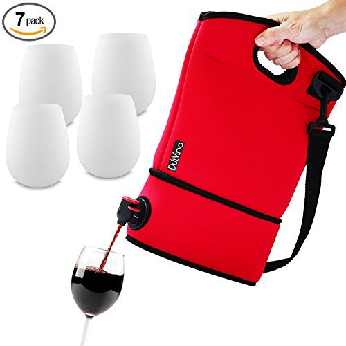 BAG IT! Neoprene Wine Purse + 4 Silicone Wine Glasses - BYOB Wine Tote Carrier - Incl. 2 Baggies w/Spout - Holds 4 bottles of wine - Great Wine Gifts for Women! - Wine to Go Made Easy! (Red) (Box Wine Tote compare prices)