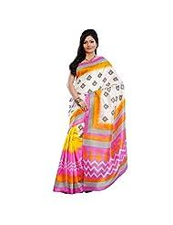 Delightful Yellow Colored Printed Art Silk Saree By Triveni