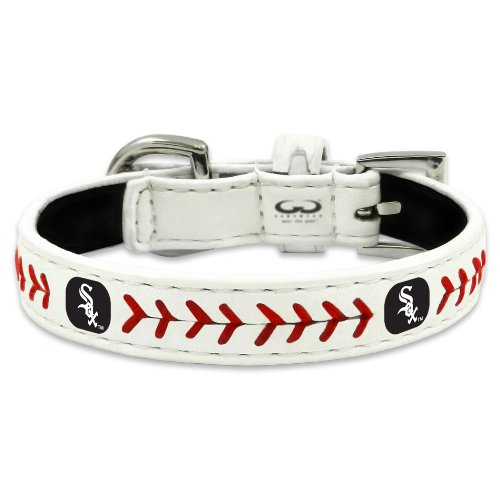 MLB Chicago White Sox Classic Leather Baseball Dog Collar (Small)