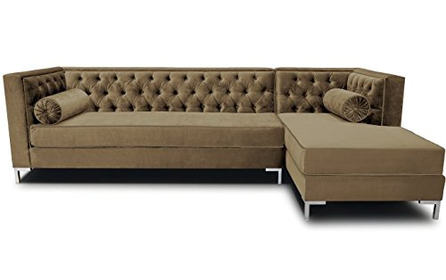 Decenni Tobias 8 Foot Tufted Left Arm Chaise Facing Tone Piping Sectional Sonoma Taupe front-386815