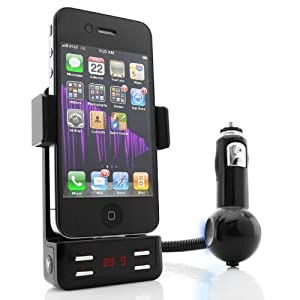 GOgroove FlexSMART 4i Car Mount System Hi-Fi FM Transmitter and Charger for Apple iPhone 4S , 4 , 3GS , 3G / iPod Touch 4th Generation and Other iPods