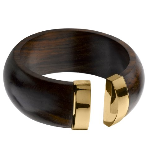 The Branch Rosewood And 18Ct Gold Plated Silver Bangle With Capped Ends - Size M