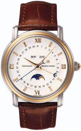 Maurice Lacroix Masterpiece Phase de Lune Stainless Steel 18kt Gold Mens Watch mp6347-ys101-19e